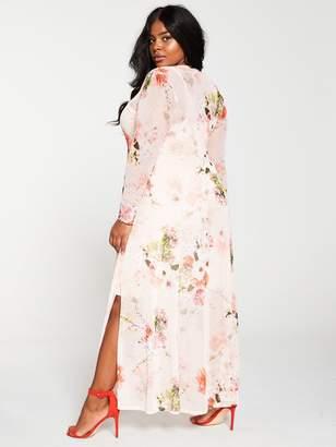 V By Very Curve V by Very Curve Floral Mesh Print Maxi Dress - Floral Print