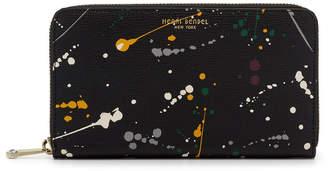 Henri Bendel West 57Th Zip Around Splatter Paint Continental Wallet