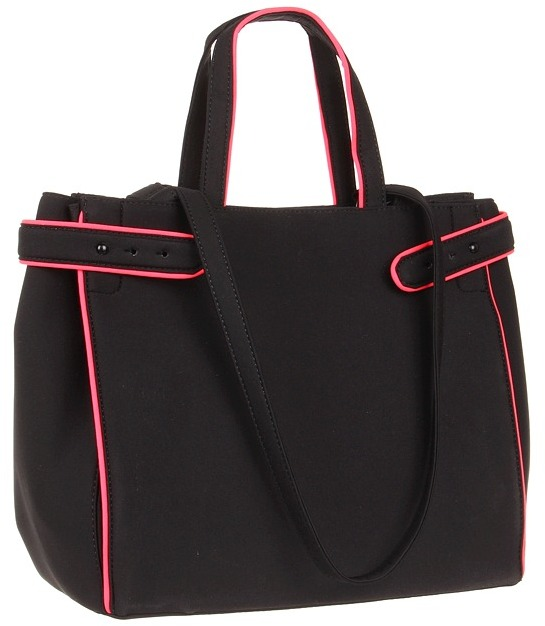 BCBGeneration Alana Shopper Tote (Black/Hot Pink Coral) - Bags and Luggage