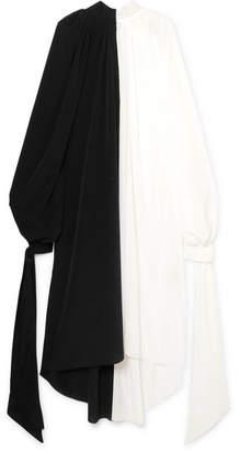 Awake Two-tone Crepe De Chine Midi Dress - Black