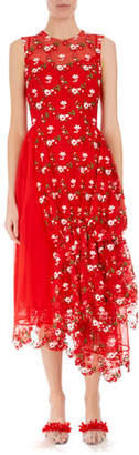Simone Rocha Sleeveless Floral Embroidered Tulle Dress