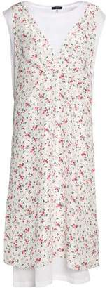 R 13 Layered Cotton And Cashmere-Blend Jersey And Floral-Print Silk Midi Dress