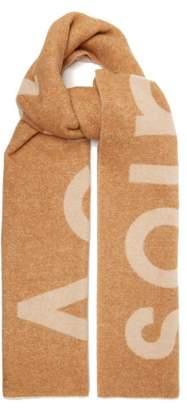 Acne Studios Toronty Logo Jacquard Wool Blend Scarf - Womens - Camel