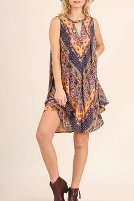 Umgee USA Pleated multi-print dress