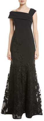 Rickie Freeman For Teri Jon Asymmetric-Neck Embroidered Scuba Flounce Gown