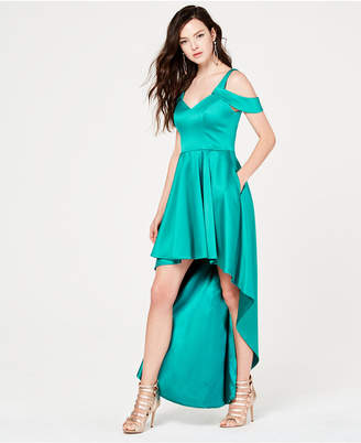 Sequin Hearts Juniors' Cold-Shoulder High-Low Gown