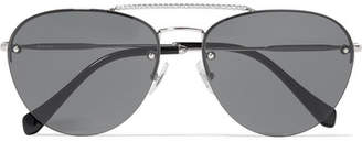 Miu Miu Aviator-style Crystal-embellished Silver-tone Sunglasses - Black