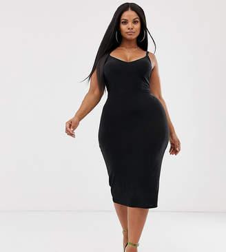 ebc41ed0c6ea Club L London Plus open back midi dress with ruched back detail in black