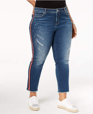 INC International Concepts I.n.c. Plus Size Cropped Racing-Stripe Jeans, Created for Macy's