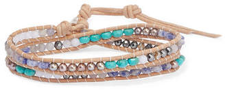 Chan Luu Leather Multi-stone Wrap Bracelet - Blue