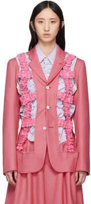 Comme des Garcons Pink Wool Ruffled Tape Blazer