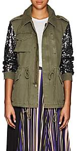 Barneys New York Women's Sequined-Sleeve Cotton Twill Military Jacket - Silver