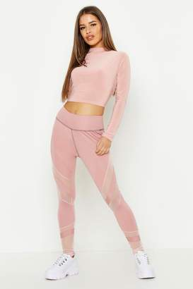 boohoo Petite Fit Premium Curved Panel High Waist Legging