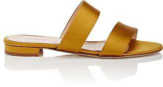Barneys New York Women's Satin Double-Band Slide Sandals $195 thestylecure.com