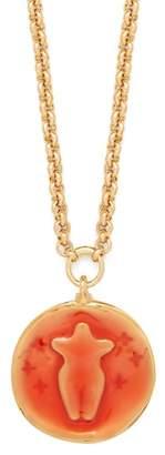 Chloé Emoji Gold Tone Pendant Necklace - Womens - Orange