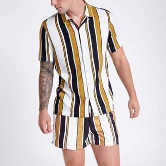 River Island Yellow stripe short sleeve revere shirt