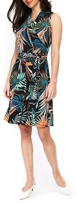 Wallis Palm Print Faux Wrap Dress