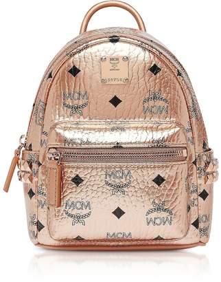 MCM Champagne Gold Visetos Stark Bebe Boo X-Mini Backpack