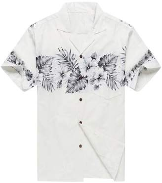 Hawaii Hangover Made in Hawaii Men's Aloha Shirt Palm with Cross Hibiscus in White and Grey