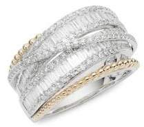 Effy 14K White Gold, Yellow Gold & Diamond Ring