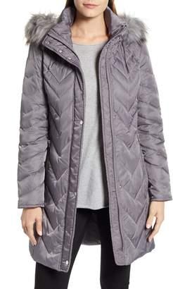 Andrew Marc Matte Satin Chevron Faux Fur Trim Coat