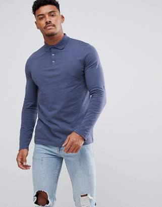 Asos Design Jersey Long Sleeve Polo In Blue