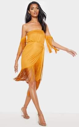 PrettyLittleThing Tan Faux Suede Bardot Tassel Wrap Bodycon Dress