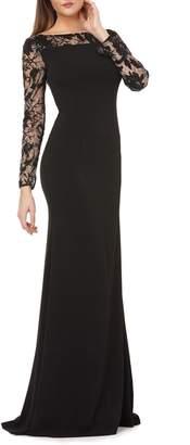 Carmen Marc Valvo Lace & Crepe Gown