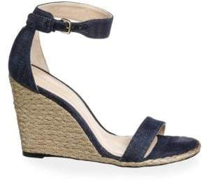 Stuart Weitzman Women's Back Up Denim Espadrille Wedge Sandals - Navy - Size 39.5 (9.5)