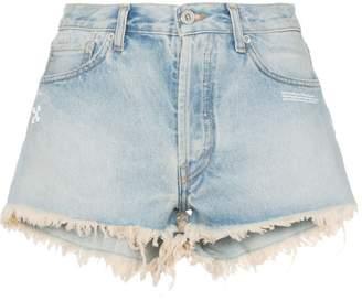 Off-White raw hem front logo denim shorts