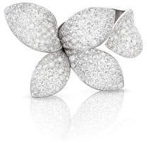 Pasquale Bruni Giardini Secreti 18K White Gold Diamond Petal Ring, Size 7