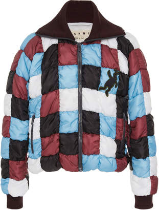 Checkerboard Shell Puffer Jacket