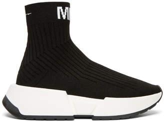 Maison Margiela (メゾン マルジェラ) - MM6 Maison Martin Margiela ブラック ソックス ハイトップ スニーカー