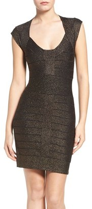 French Connection Danni Metallic Bandage Dress $198 thestylecure.com