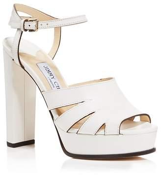 Jimmy Choo Women's Hermione 120 Leather Platform High-Heel Sandals