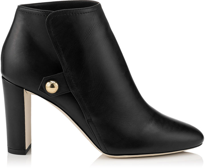 Jimmy Choo MEDAL 85 Black Waxed Soft Leather Booties