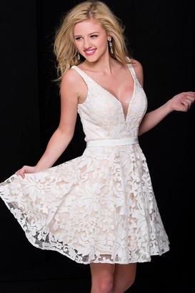 Jovani - Sleeveless Deep V Neck Floral Sequined Short Party Dress JVN47506 $258 thestylecure.com