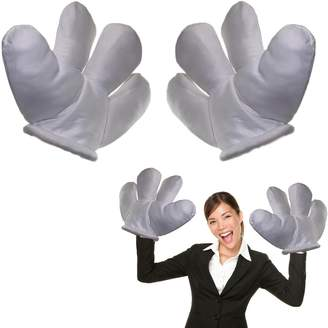 dazzling toys Jumbo Plush Costume Cartoon Hands with Four Fingers - Large Sized Gloves for Dress Up, Parties, & Kids' Events 1 Pair of 2 Gloves