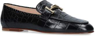 J.P Tods Crocodile-Embossed Cuoio Loafers