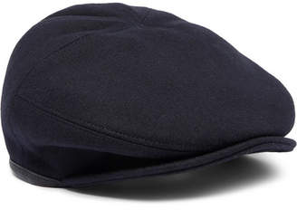 Alexander McQueen Leather-Trimmed Wool Flat Cap - Men - Navy