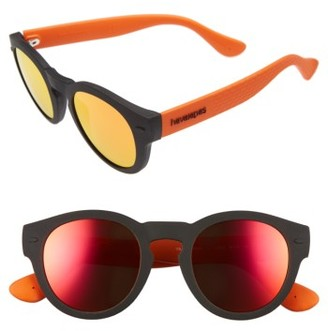 Women's Havaianas Trancoso 49Mm Mirrored Round Sunglasses - Black/ Orange $68 thestylecure.com