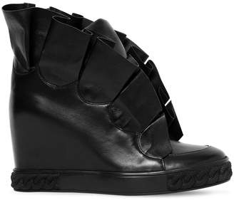 Casadei 80mm Maleficent Ruffled Leather Sneakers