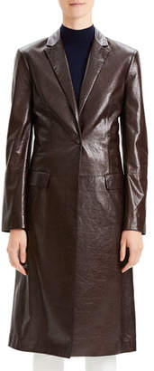 Theory Varnished Leather Single-Button Long Coat