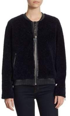 The Fur Salon Shearling Leather Bomber Jacket