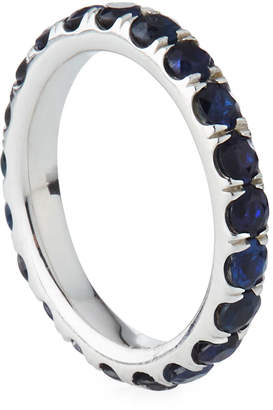 Diana M. Jewels 18k White Gold Sapphire Eternity Wedding Band Ring