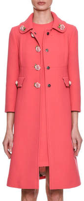 Dolce & Gabbana Single-Breasted Crepe Wool Coat w/ Rose Appliqués