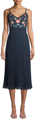 Nanette Lepore Nanette Embroidered Pleated Skirt Midi Dress