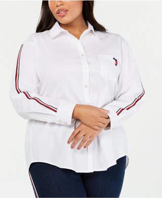 1b37d1bd53ef6 Tommy Hilfiger Plus Size Cotton Striped-Sleeve Shirt