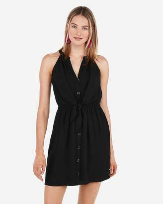 9923b70a Express Tie Front Sleeveless Shirt Dress