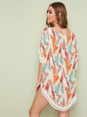 Shein Feather Print Cut-out Crochet Insert Cover Up